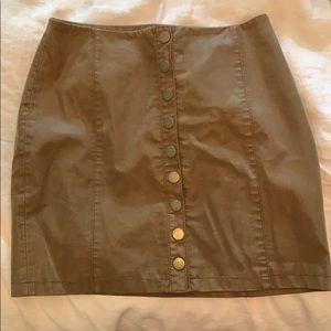 Vegan Leather Tan miniskirt